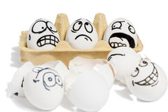 Three emotional eggs Royalty Free Stock Images