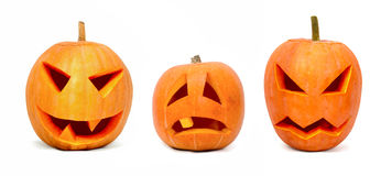 Three emotional halloween pumpkins. Isolated on white background Stock Photo