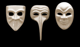 Three emotional mask made ​​of porcelain Stock Photos