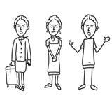 Three emotional woman characters Stock Photo