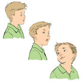 Three emotions of the boy Stock Image