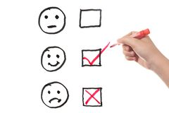 Three emotions. Choosing from three different emotions with three check boxes Stock Photography