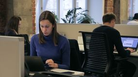 Three employees is working while sitting at laptops in modern office. stock video footage
