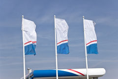 Three empty  banner flags Stock Photo