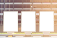Three empty billboards, front, toned Stock Photography