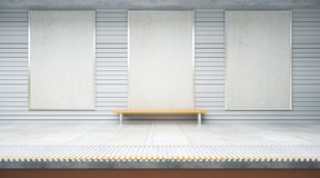 Three empty billboards in subway. Three empty billboards inside metro or subway station with bench. Mock up, 3D Rendering Stock Images