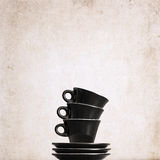 three empty black coffee cups Royalty Free Stock Photo