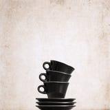 three empty black coffee cups Royalty Free Stock Photo