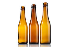 Three empty bottles of beer  Royalty Free Stock Images