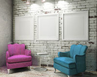 Three empty canvases on the natural brick wall background and vintage armchairs. 3d render Royalty Free Stock Photo