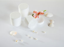 Three Empty cream jars Stock Photo