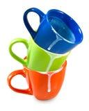 Three empty dirty cups Stock Photo