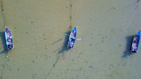 Three Empty Fishing Boats in Sea. Aerial View stock video footage
