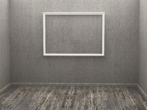Three empty frame in a room Stock Images