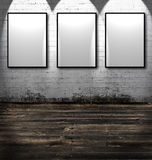 Three empty frames stock photos