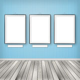 Three empty frames on a wall Royalty Free Stock Photos