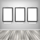 Three empty frames on a wall Royalty Free Stock Photography