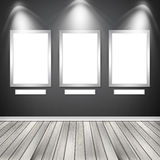 Three empty frames on a wall. High resolution texture Royalty Free Stock Photos