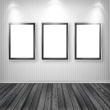 Three empty frames on a wall. High resolution texture Stock Image