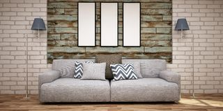 Three empty frames on wooden wall and sofa in light blue and grey color. royalty free illustration