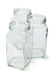 Three empty glass containers Royalty Free Stock Image