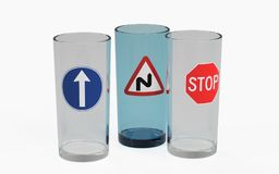Three empty glass decorated with road signs. 3D rendering Stock Image
