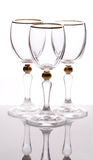 Three empty glass on white Royalty Free Stock Photos