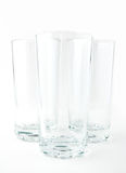 Three empty glasses. On a white background Royalty Free Stock Photos
