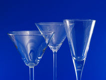 Three Empty Martini Glasses Stock Images