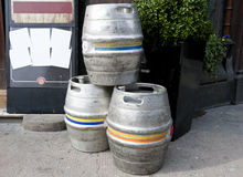 Three empty metal kegs Royalty Free Stock Photo