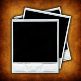 Three empty photo frames over grunge background. Set of three empty photo frames over grunge background - square format Royalty Free Stock Photography
