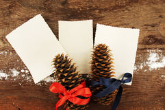 Three empty photographs and two fir cones which are festively decorated with bright tapes Royalty Free Stock Photos