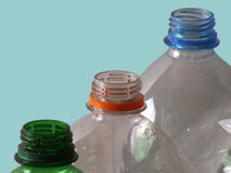 Three empty plastic beverage bottles without shutter Royalty Free Stock Photography