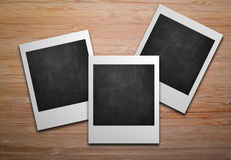 Three empty polaroids photo frames stock images