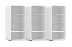 Three empty rotated retail shelves. Front view Stock Photos