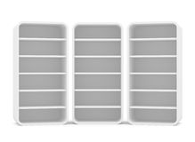 Three empty rotated retail shelves. Front view Royalty Free Stock Photos