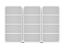 Three empty rotated retail shelves. Front view Stock Photo