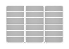 Three empty rounded retail shelves. Front view Royalty Free Stock Photography