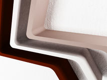 Three empty shelves on the wall, abstract,, 3d. Rendering Royalty Free Stock Photos