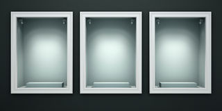 Three empty showcases of the shop Stock Images