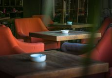 Cafe`s Lonely Tables stock images