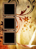 Three empty vintage frames on grunge background Royalty Free Stock Images