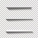 Three Empty White Vector Shelfs with Long Shadows on a Transparent Background vector illustration