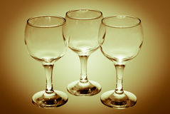 Three empty  wine glass Stock Image