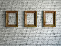 Three empty wooden frames Stock Photos
