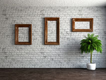 Three empty wooden frames Royalty Free Stock Image