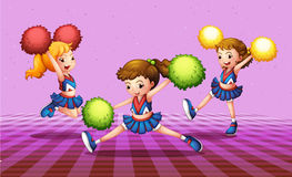 The three energetic cheerdancers royalty free illustration