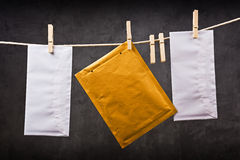 Three Envelope on clothes rope Stock Image