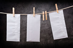 Three Envelope on clothes rope Royalty Free Stock Photography