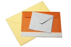 Three envelopes on white background, isolated Royalty Free Stock Photo